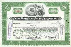 Union Bag-Camp Paper Corporation -  historic stocks - old certificates Media and Film