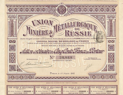 Union Minière & Métallurgique de Russie -  historic stocks - old certificates Mining