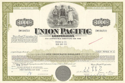 Union Pacific Corporation (1000$ Bond) -  historic stocks - old certificates Railroads