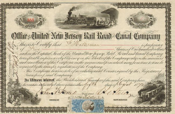 United New Jersey Rail Road and Canal Company historische Wertpapiere - alte Aktien