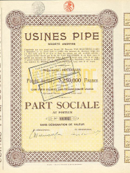 Usines Pipe -  historic stocks - old certificates Automobiles