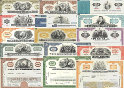 10 verschiedene US Aktien historic stocks - old certificates