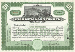 Utah Metal and Tunnel Company -  historic stocks - old certificates Mining
