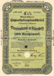 Vereinsbank in Nürnberg (1940 100 Reichsmark) -  historic stocks - old certificates Banks and Insurance