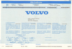 Volvo -  historic stocks - old certificates Automobiles
