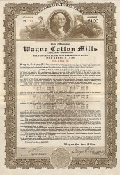 Wayne Cotton Mills -  historic stocks - old certificates Textile Industry
