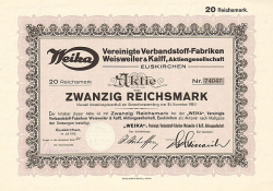 Weika Vereinigte Verbandstoff-Fabriken Weisweiler & Kalff AG -  historic stocks - old certificates Pharmacy and Cosmetics