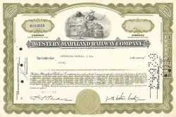 Western Maryland Railway Company (Less than 100 Shares) -  historic stocks - old certificates Railroads