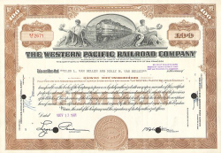 Western Pacific Railroad Company -  historic stocks - old certificates Railroads